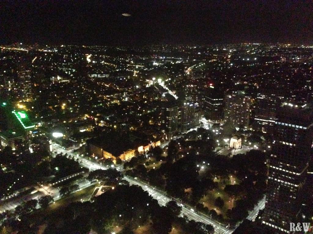 Vue nocturne depuis la tour de Sydney
